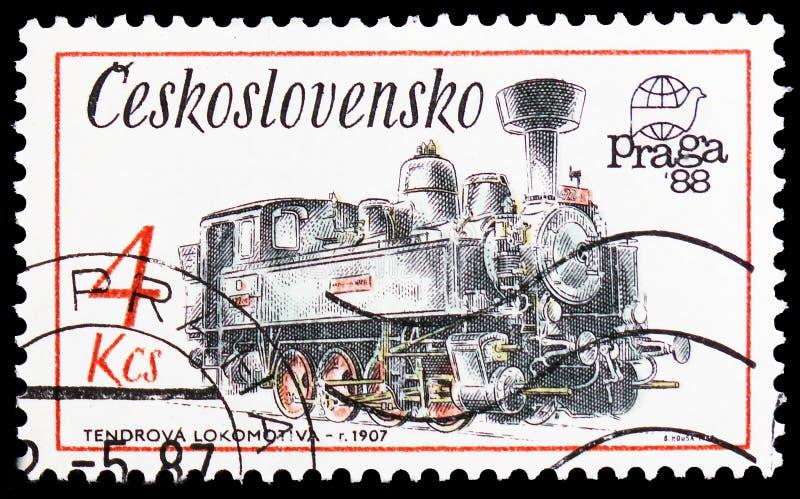 Offre locomotive, 1907, monuments techniques dans le serie de la Tchécoslovaquie, vers 1987 image libre de droits