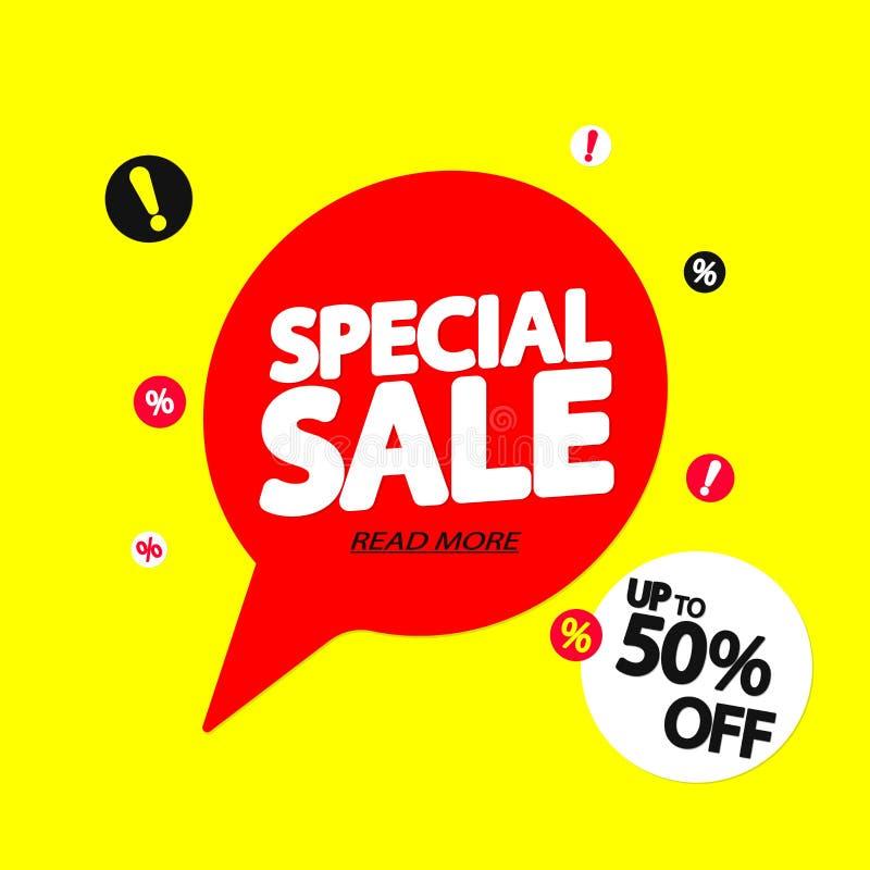 Offre spéciale, jusqu'à 50%, bannière de bulle de la parole de vente, calibre de conception d'étiquette de remise, illustration d illustration stock