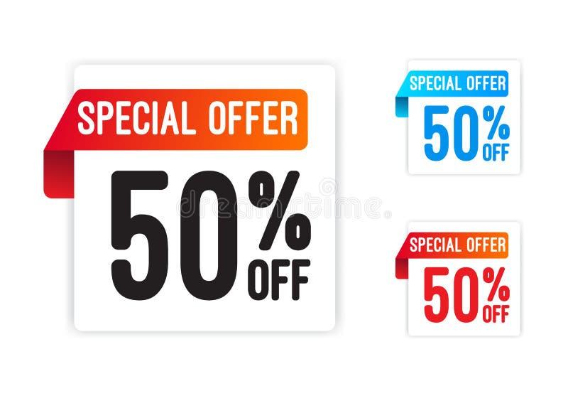 Offre spéciale 50% outre des autocollants illustration de vecteur