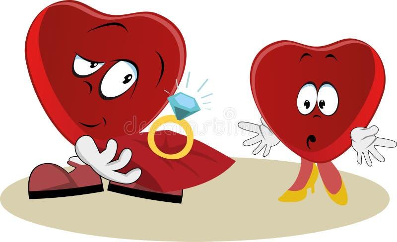 Offres drôles de coeur à marier illustration stock