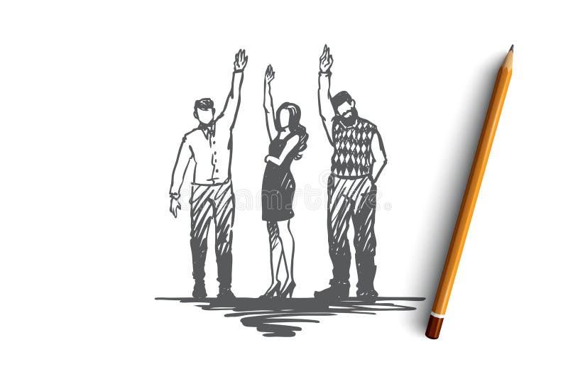 Offrez, aidez, ensemble, le concept de donation Vecteur d'isolement tiré par la main illustration de vecteur
