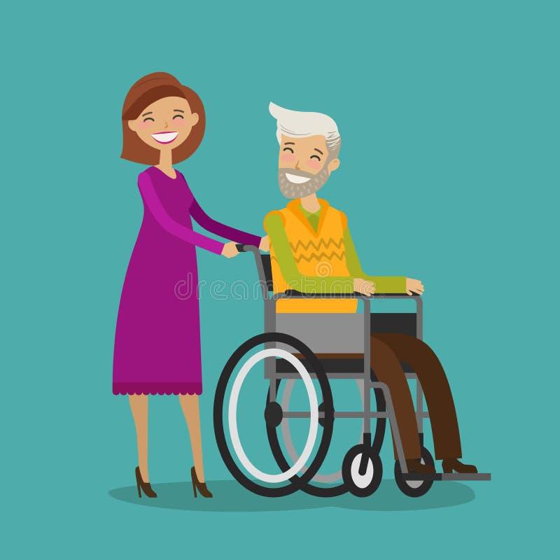 Offrez ou soignez sur la promenade avec l'homme plus âgé handicapé dans le fauteuil roulant Illustration de vecteur de dessin ani illustration libre de droits