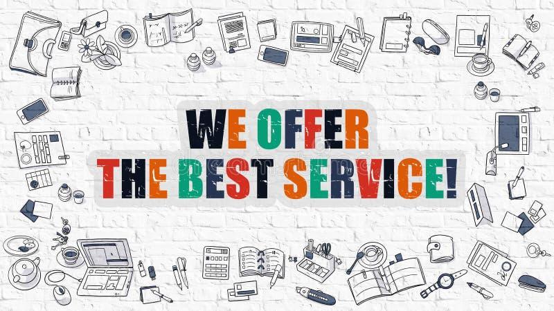 Offriamo il migliore concetto di servizio con le icone di progettazione di scarabocchio illustrazione vettoriale