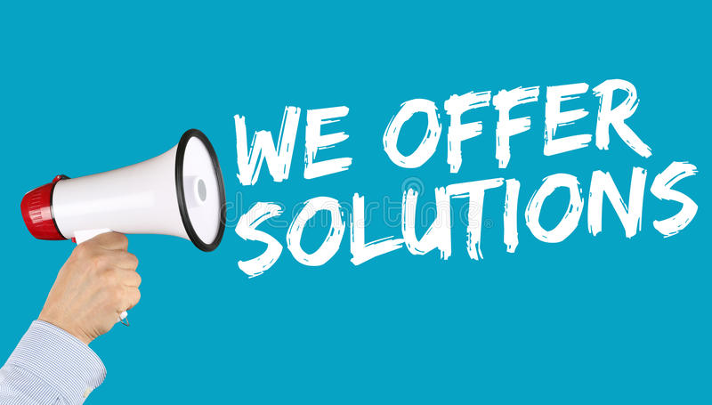 Offriamo la soluzione delle soluzioni per successo di concetto di affari di problema immagini stock libere da diritti