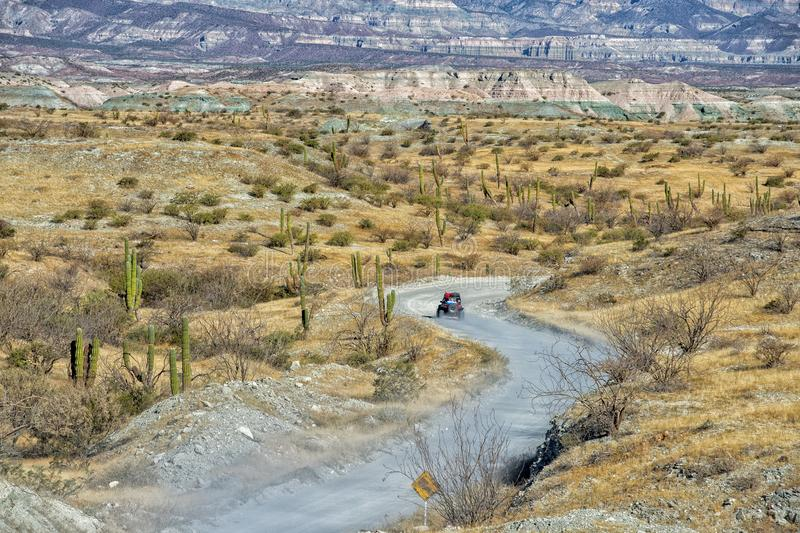Offroad in baja california landscape panorama desert road. 4x4 driving in Mexico baja california desert endless road royalty free stock photos
