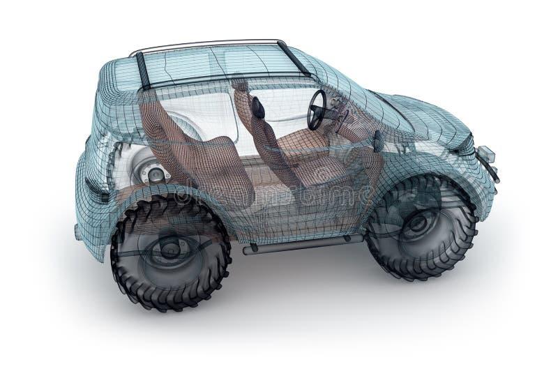 Offroad bildesign, trådmodell stock illustrationer
