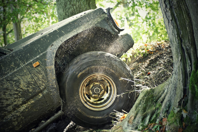 Offroad. Car climbing up the hill royalty free stock photo