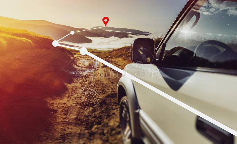 Offroad Car On Mountains And Clouds Background. Road Adventure V. Offroad Car On Mountains And Clouds Background. Road Adventure Holidays Vacation Concept stock images