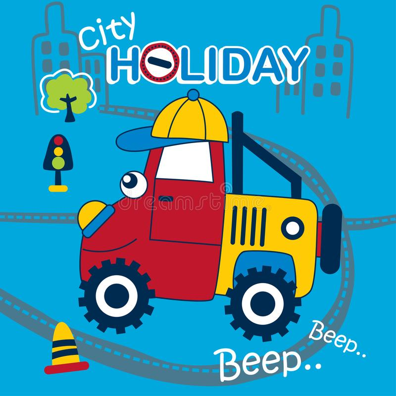 Offroad car playing in the city funny cartoon stock illustration