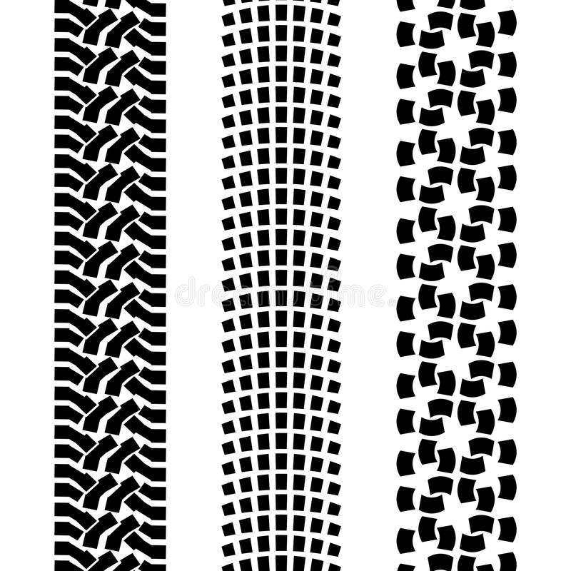 Offroad car tyre. Black pattern prints from a different off road car tires vector illustration