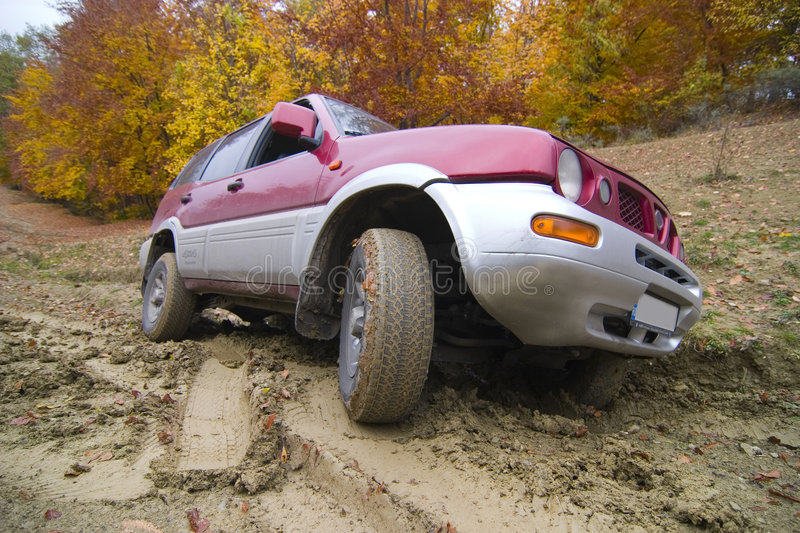 Driving Offroad On Mud Track Royalty Free Stock Image