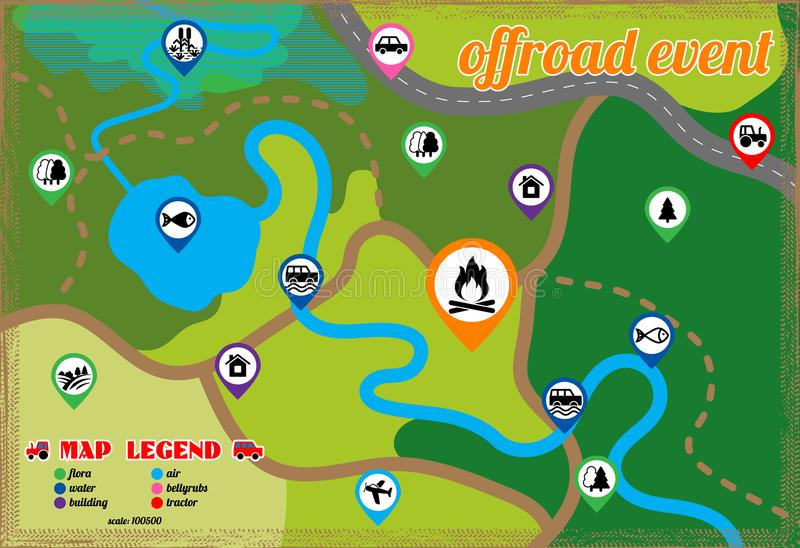 Offroad event and camping map icons set. Vector illustration. royalty free illustration