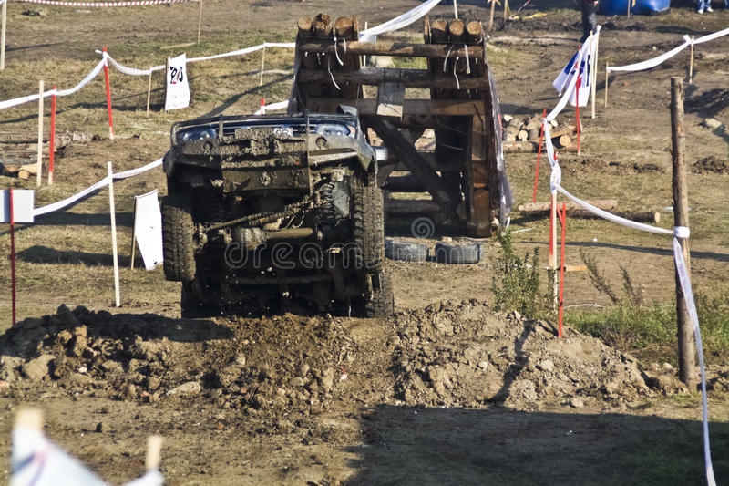 Offroad Jumping Car Stock Photography