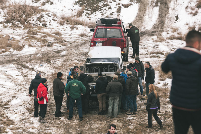 Offroad race. A 4x4 offroad car have accident at the Romanian championship run stock photos
