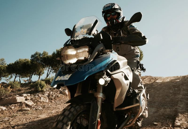 BMW R1200GS Downhill. Offroad Training in Andalusia Spain stock photos