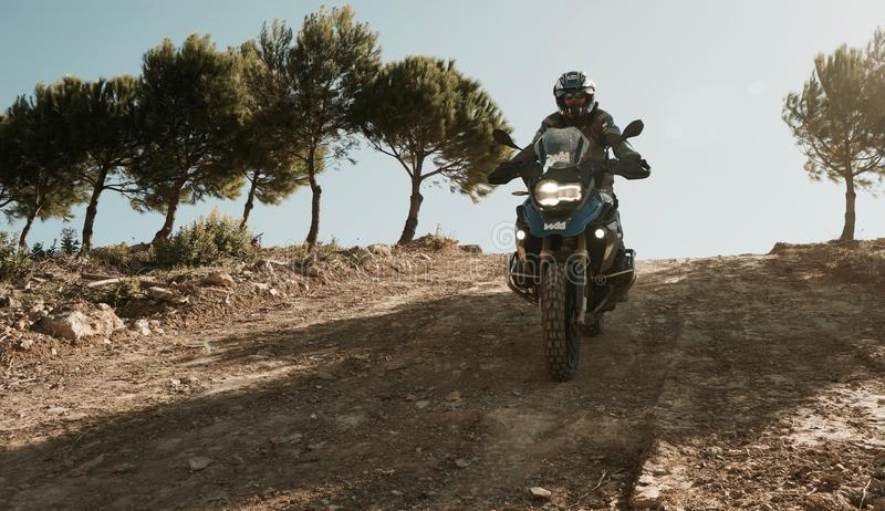 BMW R1200GS Downhill. Offroad Training in Andalusia Spain stock photography