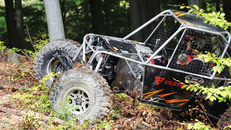 Offroad trial car competition. Round in 2017 edition of combined Slovakian and Czech championship in Offroad trial competition held in Valcianska dolina Valca stock photography