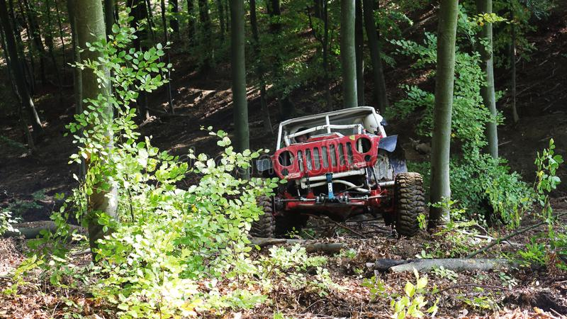 Offroad trial car competition. Round in 2017 edition of combined Slovakian and Czech championship in Offroad trial competition held in Valcianska dolina Valca royalty free stock photos
