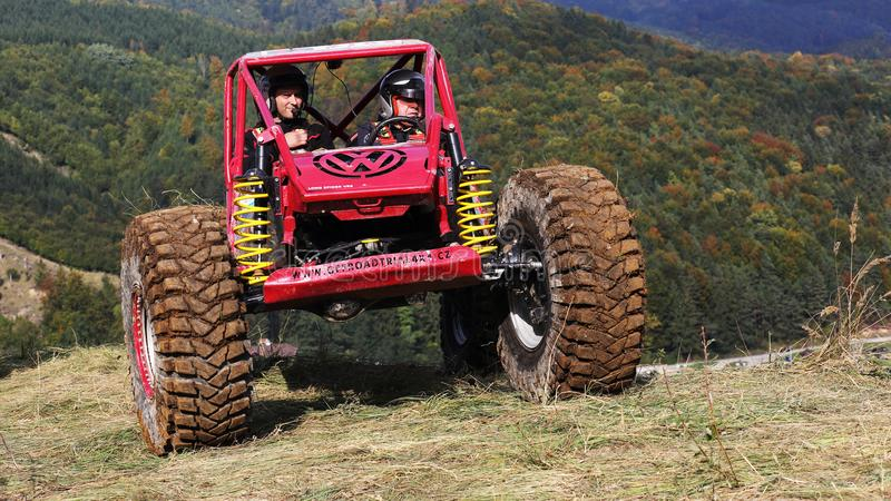 Offroad trial car competition. Round in 2017 edition of combined Slovakian and Czech championship in Offroad trial competition held in Valcianska dolina Valca royalty free stock photography
