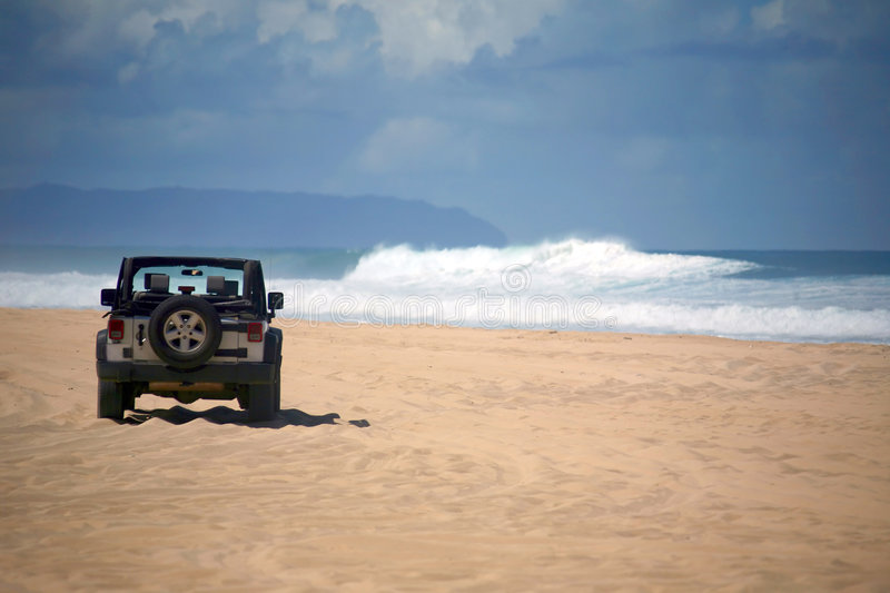 Download Offroad Vehicle On A Remote Beach In Hawaii Stock Image - Image of vehicle, sand: 8886991