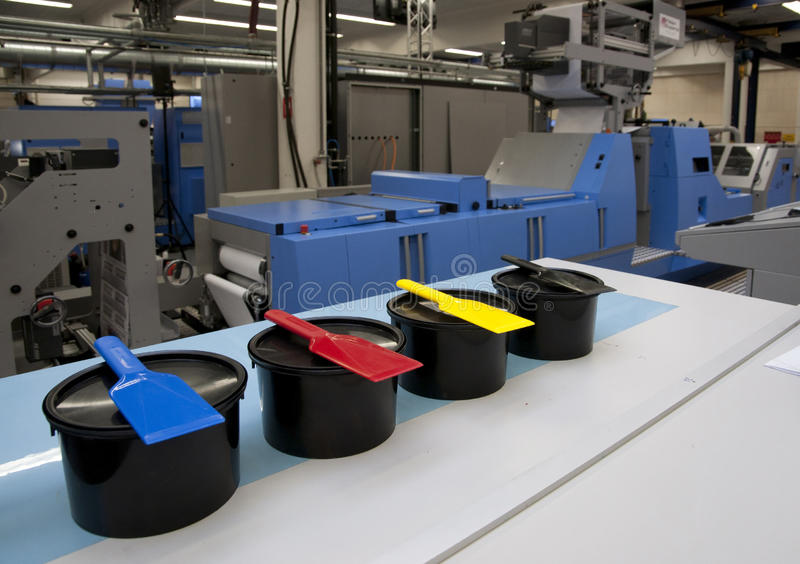 Offset/flexo press for labels. Offset/flexo printer for labels and flexible packaging royalty free stock photos