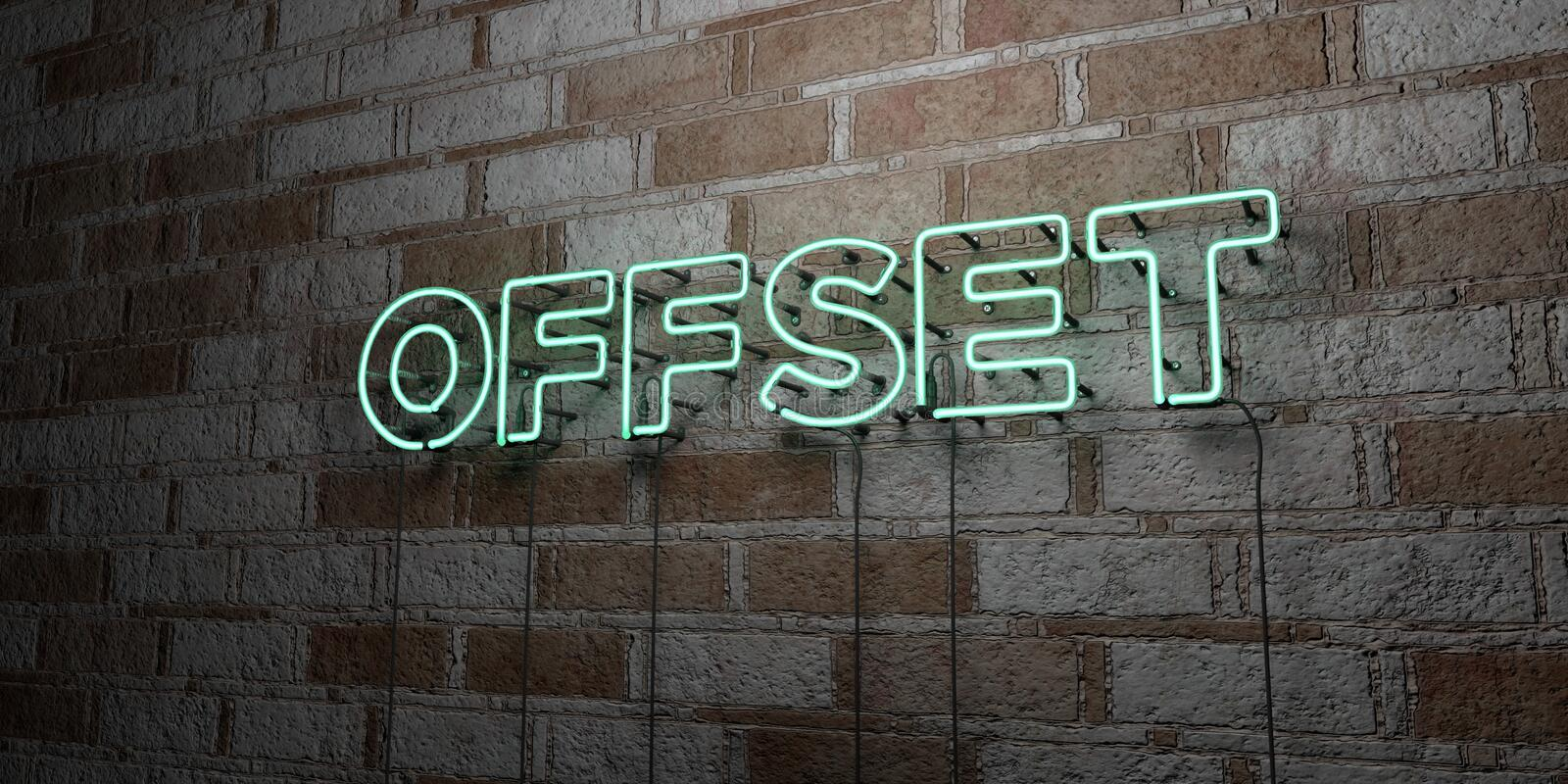OFFSET - Glowing Neon Sign on stonework wall - 3D rendered royalty free stock illustration. Can be used for online banner ads and direct mailers vector illustration