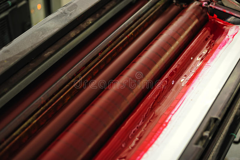 Offset- pressprinting, detalj royaltyfri bild