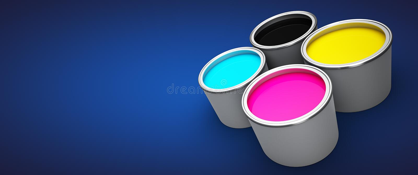 Offset printing ink. Printing Press Ink. Offset ink. Red yellow magenta cyan black over blue background