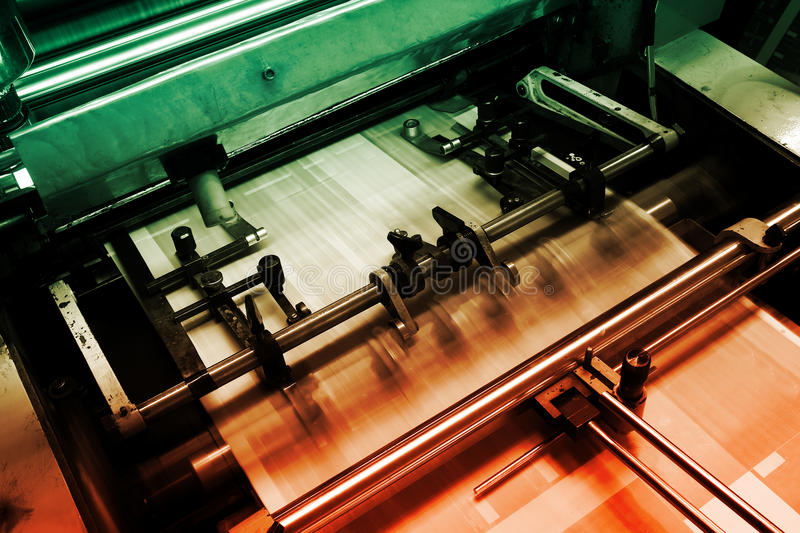 Offset printing machine stock photography