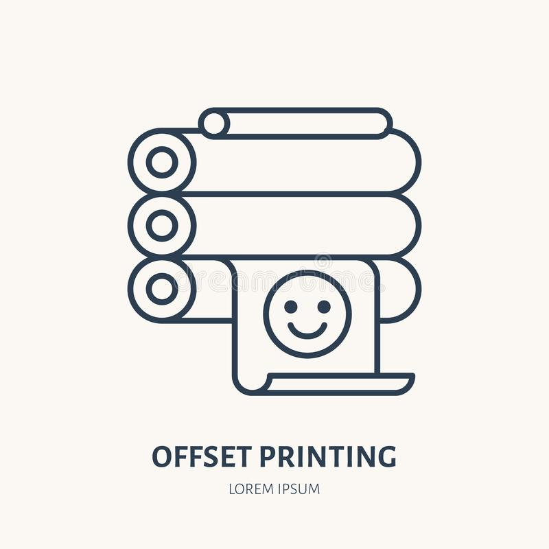 Offset- skrivare med den utskrivavna papperslägenhetlinjen symbol Tecken för printingapparat Tunn linjär logo för printeryen, utr vektor illustrationer