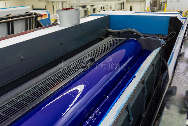 Offset- tryckskrivare Printing Industry Black Magen för cylinder CMYK arkivbilder