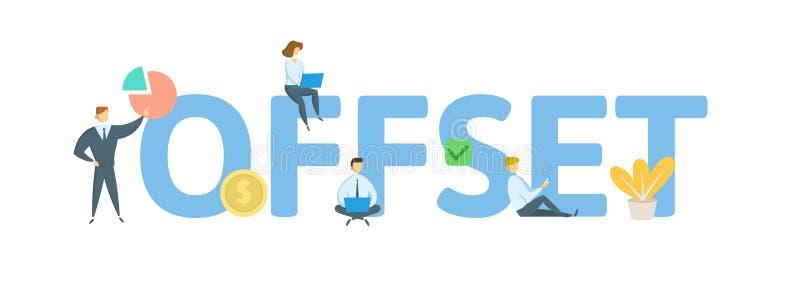 OFFSETcept mit Leuten, Buchstaben und Ikonen Flache Vektorillustration Getrennt auf weißem Hintergrund lizenzfreie abbildung
