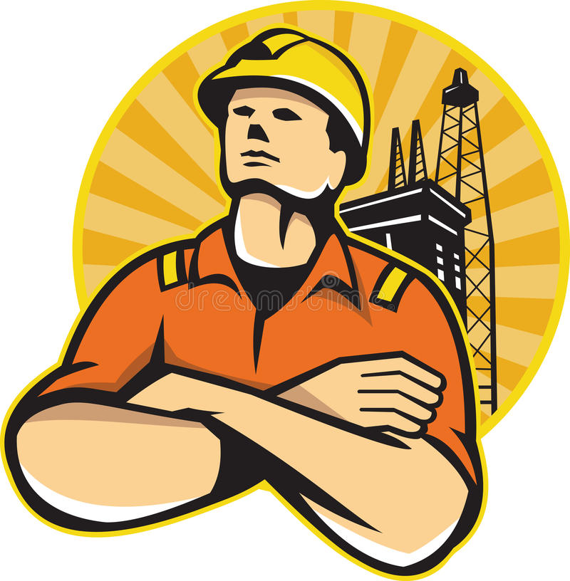Offshoreöl-und Gas-Arbeitskraft Rig Retro lizenzfreie abbildung