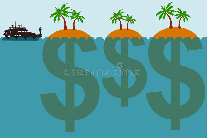 Offshore company. An offshore company or corporation based in a so called tax haven royalty free illustration