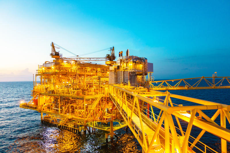 Offshore construction platform for production oil and gas with b stock images