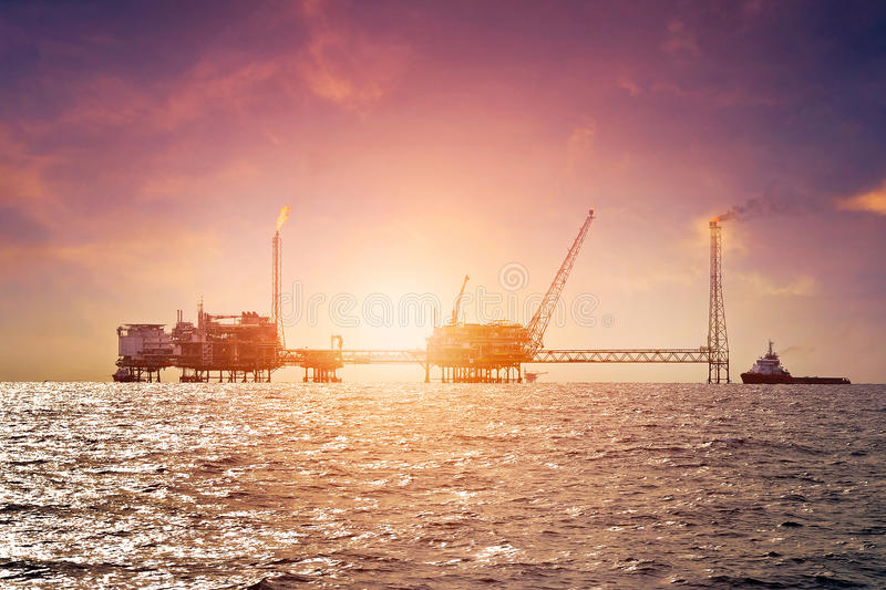Offshore construction platform royalty free stock image