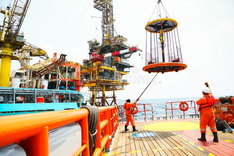 Offshore construction platform for production oil and gas. Oil and gas industry and hard work. Production platform and operation. Process by manual and auto stock photos