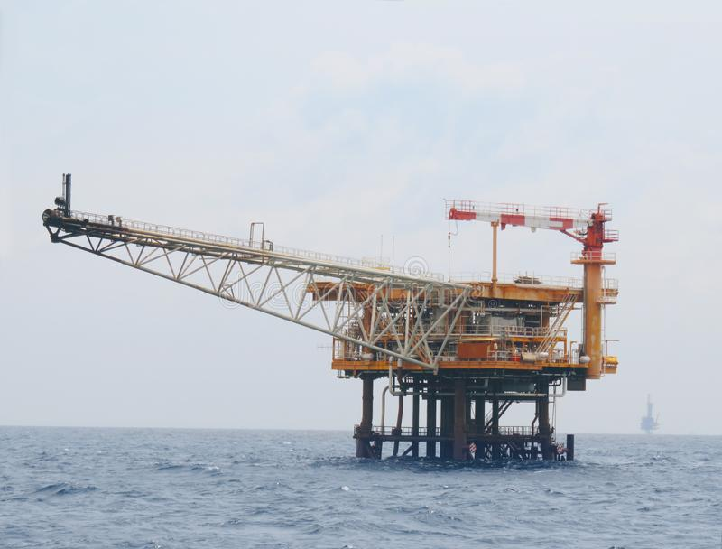 Offshore construction platform for production oil and gas, Production platform and oil and rig industry . royalty free stock images