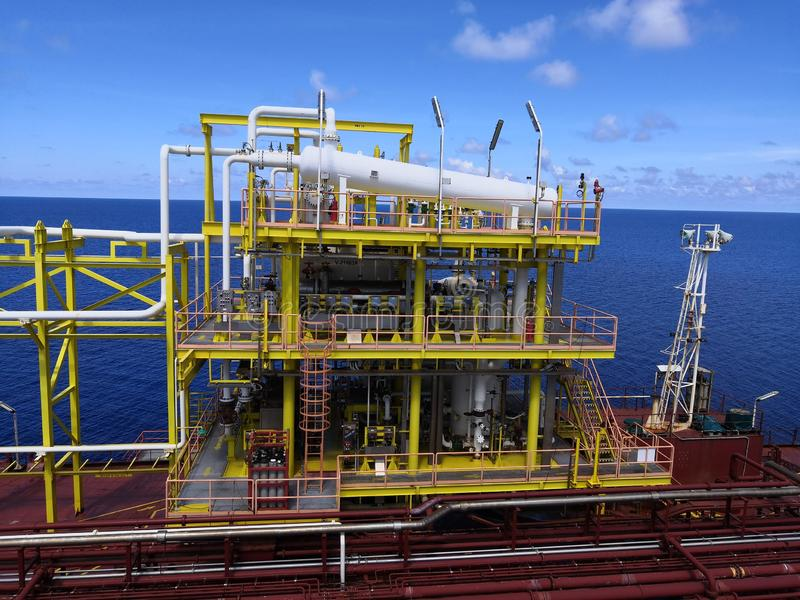 Offshore crude oil process module. Onboard FPSO located south east asia royalty free stock images