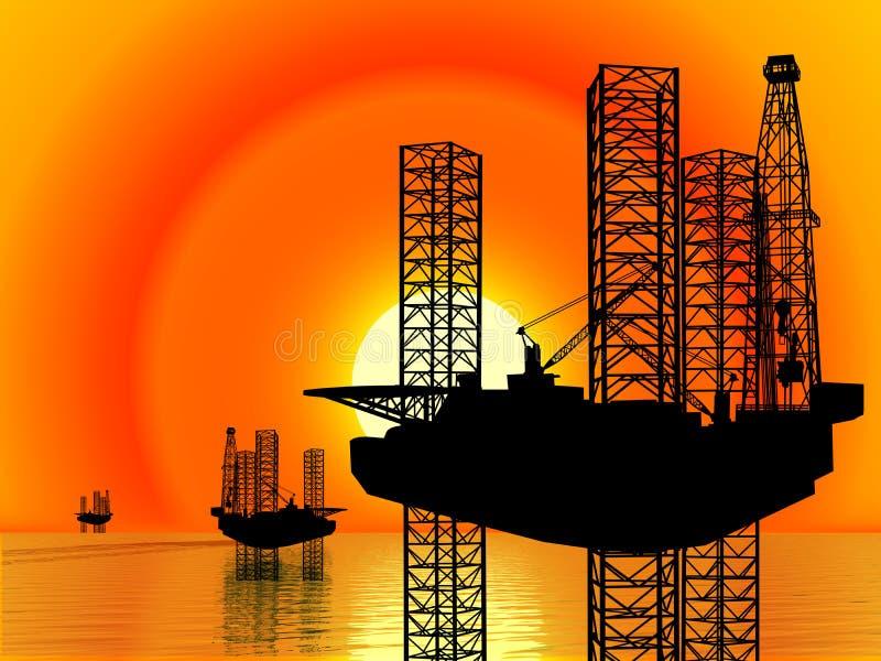 AMERICAN OIL GAS INDUSTRY. Sun rising behind three jack-up offshore drilling rigs.oilfield oil gas industry industrial drill driller drilling rig pump pumpjack