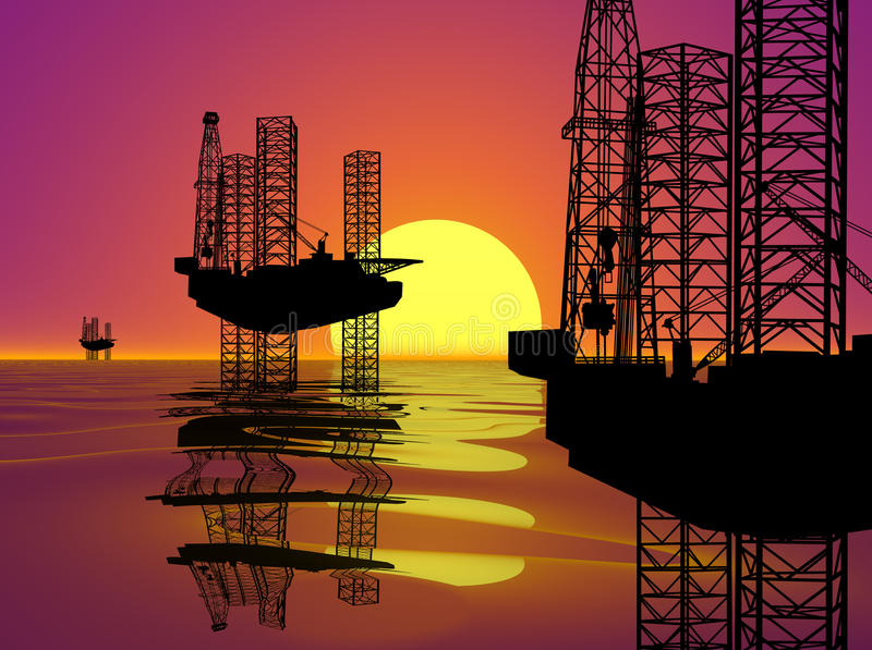 OFFSHORE DRILLING RIG-OIL WELL AT SUNSET. Three Silhouette Offshore Oil drilling Rigs Against a Sunset Background vector illustration