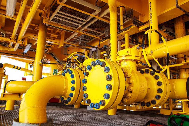 Offshore Industry oil and gas. Production petroleum pipeline royalty free stock photo