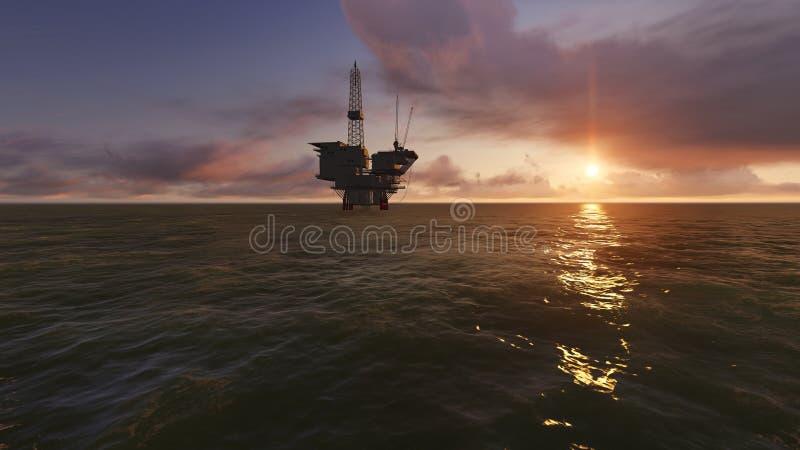Offshore Oil Drilling. At sunset vector illustration