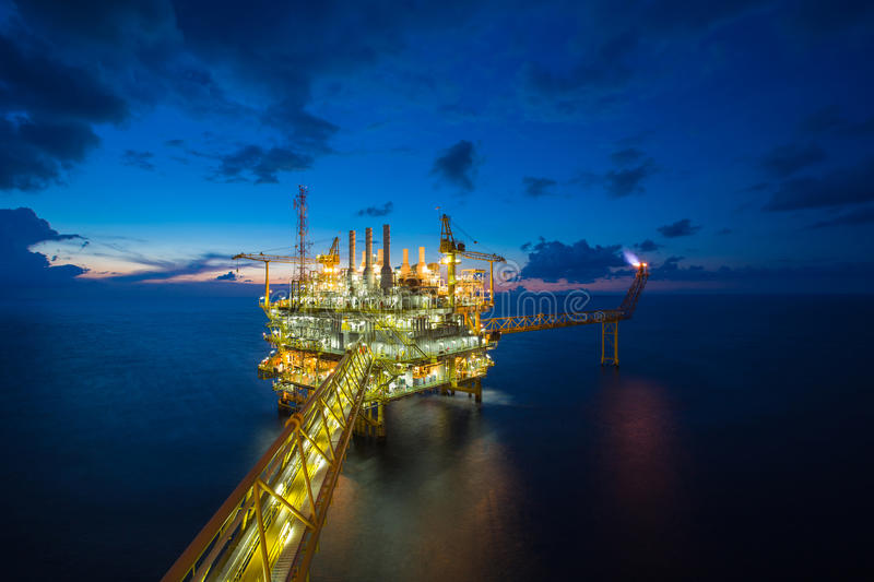 Offshore oil and gas platform, production and exploration business stock image