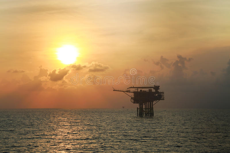 Offshore oil and gas production and exploration business. Production oil and gas plant and main construction platform in the sea. Energy business royalty free stock images