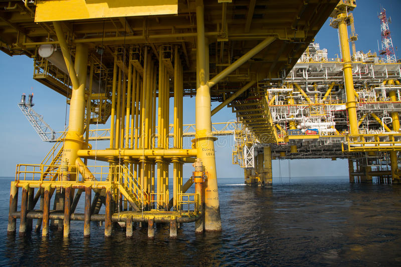 Offshore oil and gas production and exploration business. Production oil and gas plant and main construction platform in the sea. Energy business stock image