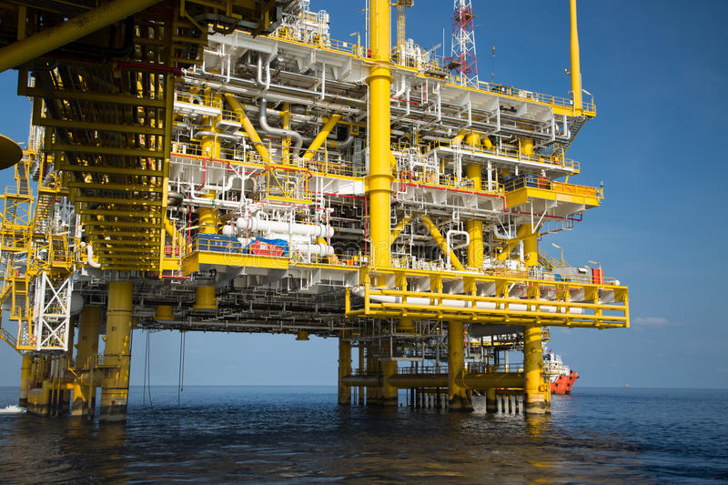 Offshore oil and gas production and exploration business. Production oil and gas plant and main construction platform in the sea. Energy business royalty free stock photos