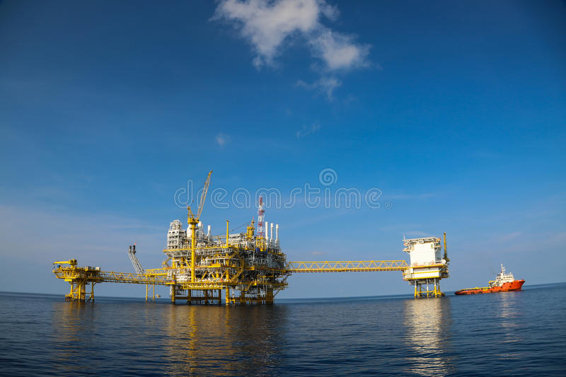 Offshore oil and gas production and exploration business. Production oil and gas plant and main construction platform in the sea. Energy business stock photo