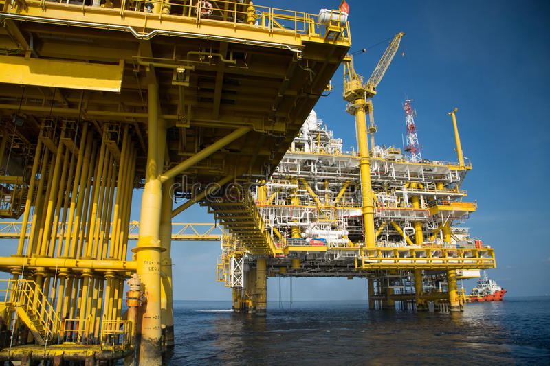 Offshore oil and gas production and exploration business. Production oil and gas plant and main construction platform in the sea. Energy business royalty free stock photo
