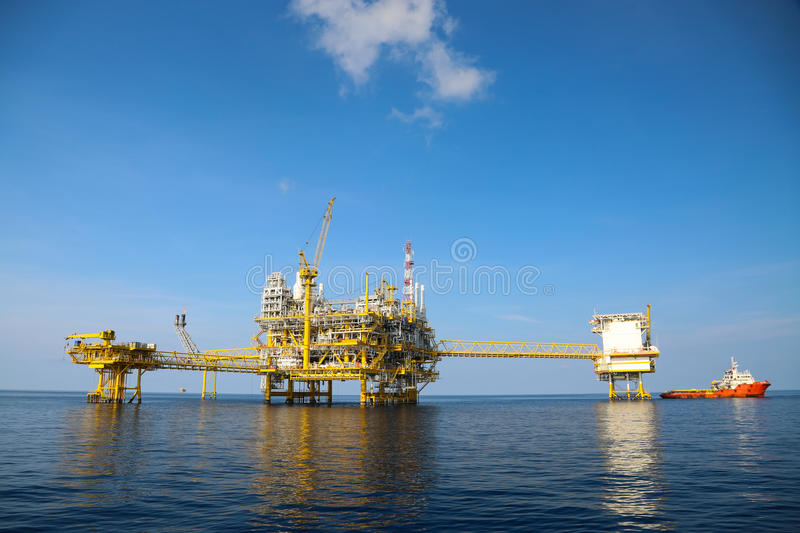 Offshore oil and gas production and exploration business. Production oil and gas plant and main construction platform in the sea. Energy business royalty free stock photography